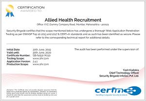 CERT-In Security Audit Certificate